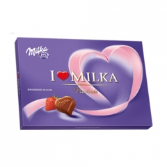 Конфеты Milka I Love Milka Strawberry & Milk Cream Pralines (120 грамм)